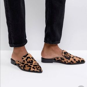 Shoes - Leopard Leather Pointed Mules